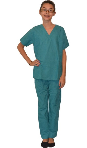 Teal Green Kids Scrub Set