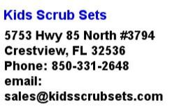 Kids Scrub Sets Location