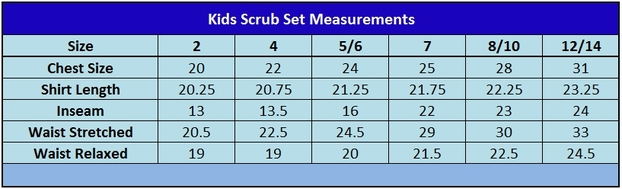 Kids Scrub Set Size Chart